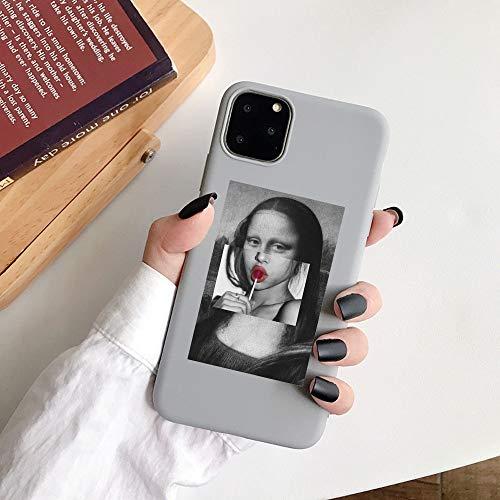 HNZZ Tmrtcgy para iPhone 11 Case Mona Lisa Art David Soft TPU Funda para teléfono para Apple iPhone 12 7 8 Plus XR XS 11PRO MAX Case (Color : Gray05, Size : IphoneXS MAX)