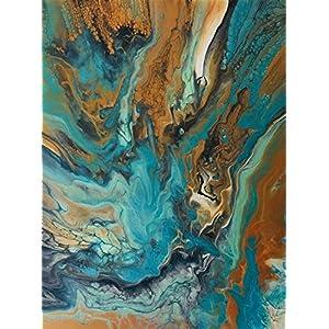 Acryl Pouring Bild I 60 x 80 x 3,5 cm I original handgemaltes Einzelstück I türkis, gold, weiß, schwarz I Keilrahmen I…