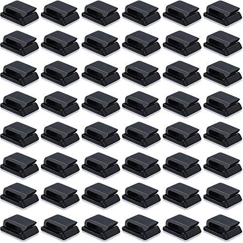 50 Packung Selbstklebende Kabelklemmen Elektrische Kabelklemmen Kabelmanagement Clips für Auto, Büro und Zuhause (13 x 10 mm, Schwarz)