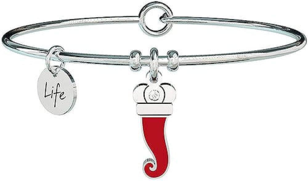 Kidult ,bangle PER DONNA in acciaio con ciondolo a forma di cornetto smaltato rosso.in acciaio 316l XYZ-000827