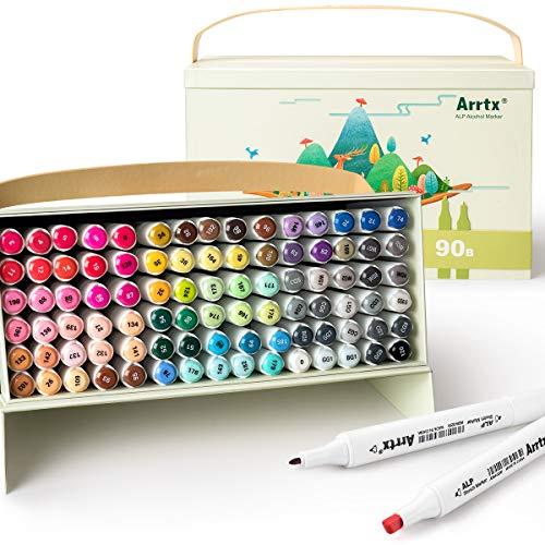 Arrtx ALPマーカーペン イラストマーカー アートマーカー 90色セット 2種類のペン先 太字 細字 防水速乾 コミック用 プレゼント用 デザイン、塗り絵、漫画、スケッチ、練習用 アート キャリングケース ペンスタンド付き (90色)