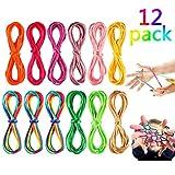 Wanxida 12PiècesCorde à Doigts Rainbow Rope Toy , Cats Cradle Corde Jeu Corde Enfant Doigt, Idéal comme Cadeau, 175 cm de Longueur