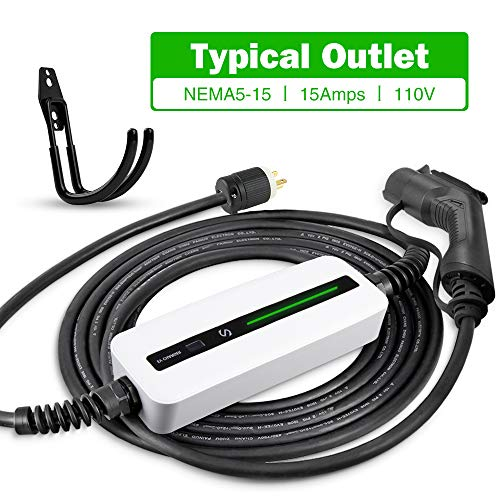 Morec 15A EV Charger Level 1-2 NEMA5-15P ev Charging Cable 100V-120V Portable EVSE SAE J1772 Plug Home Electric Vehicle Charging Station Compatible with All EV Cars 7.5m (24 feet)