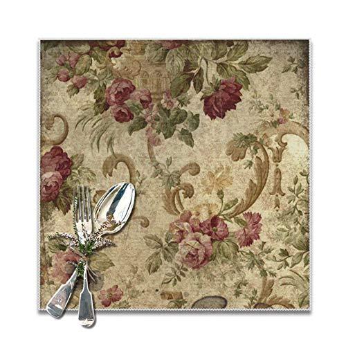 Lou Chapman Vintage Tapestry Mauve Beige Green Manteles Individuales para Mesa de...