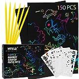 Mtele Scratch Art Juego de 150 piezas de papel para Rascar – Papel para niños con 6 lápices y 4 plantillas para regalo de cumpleaños para niños