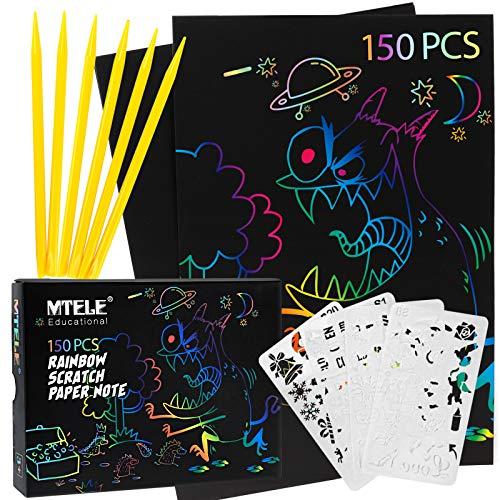 Mtele - Dreamingbox 150 PC Scratch art per bambini, con 6 stili, 4 stencil per bambini, fai da te, regalo di compleanno