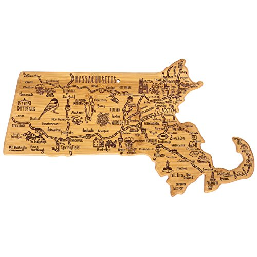 Totally Bamboo Destination Series Massachusetts State Shaped Serving and Cutting Board, Bamboo, 16.75' x 9.25'