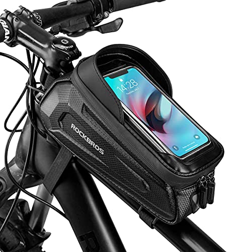 ROCKBROS Bike Phone Front Frame Bag Waterproof Bicycle Phone Mount Bag Hard...
