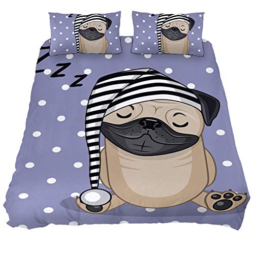 Eslifey Cute Pug Dog Sleepy 3 Piece Bedding Set Bedroom Decoration Duvet Cover Comforter with Two Pillowslips