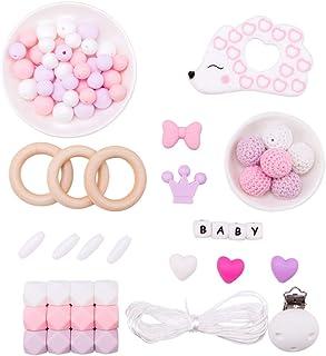 Promise Babe DIY Bébé Kit de Clip Factice - Jouets à Chaîne Sucette - Anneaux de Dentition en Bois - Hérisson en Silicone ...