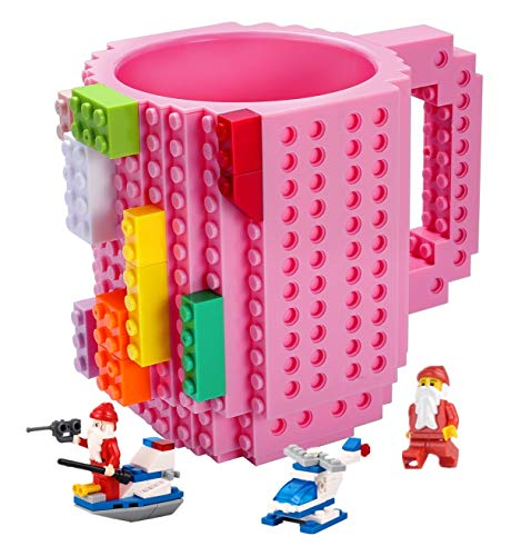 POXIWIN Build-on Brick Mugs,with 3 packs of Blocks at random,Creative DIY Building Blocks Cups for Coffee Juice,Funny Mug Compatible with Lego,Novelty Kids Party Cup for Christmas,Pink