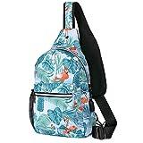 MOSISO Sling Backpack Shoulder Bag with USB Port, Flamingo