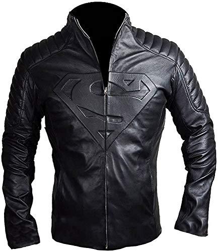 Disfraz de Superhroe para hombre de acero de Superman de la coleccin de chaqueta acolchada de cuero para motorista