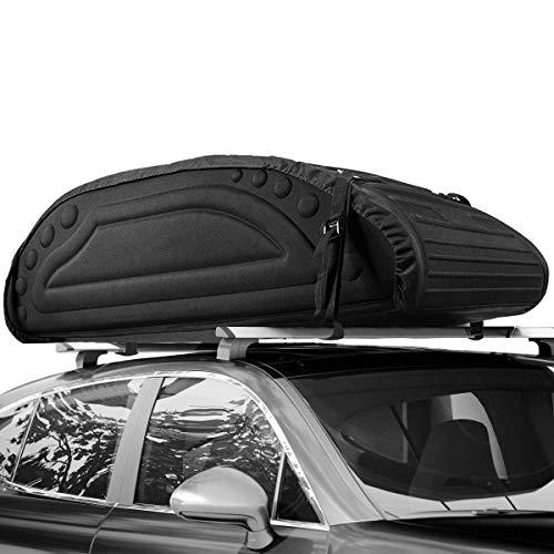 COSTWAY 425L Auto Dachbox, Dachkoffer mit Transportbändern, Dachtasche, Gepäcktasche, Gepäckbox, Dachgepäckträger Tasche für Jeeps, Autos, SUV, Schwarz