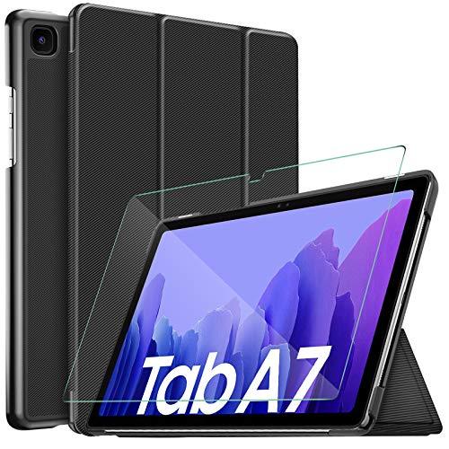 IVSO Hülle Kompatibel mit Samsung Galaxy Tab A7,Mit Samsung Tab A7 Panzerglas, Slim Hochwertiges PU Schutzhülle mit Bildschirmfolie Kompatibel mit Samsung Galaxy Tab A7 T505/T500/T507 10.4 Zoll 2020