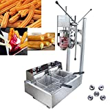 INTBUYING 3L Capacity Commercial Vertical Manual Churros Maker Machine with 12L Deep Fryer Stainless Steel Spanish Churros Maker