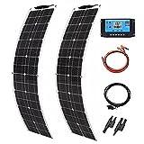 HTYQ Pannello Solare Flessibile in Pet da 100 W, Kit Caricabatteria per Camper Casa Fotovoltaico Monocristallino