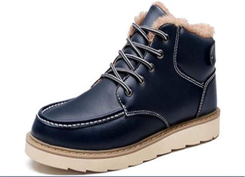 Oudan Bottes Hautes d'hiver pour Hommes, Plus Velours ouaté Chaud imperméable (Couleuré   Bleu, Taille   41)