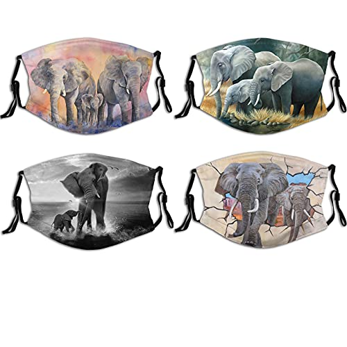 4pcs Elephant Painting Canvas Fashion Face Mask With Filter Pocket Washable Face Bandanas Balaclava Reusable Fabric Mask For Men Women