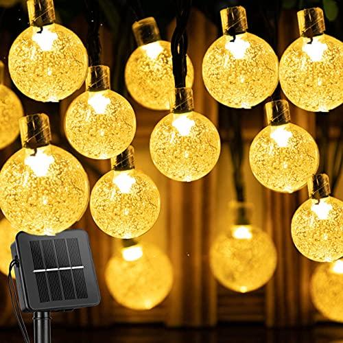 Catena Luminosa Esterno Solare, 11Metri 60LED Luce Stringa solari Lucine Led Decorative di Crystal Globe Impermeabile IP65 Catena Luminosa (Bianco caldo) [Classe di efficienza energetica A+++]