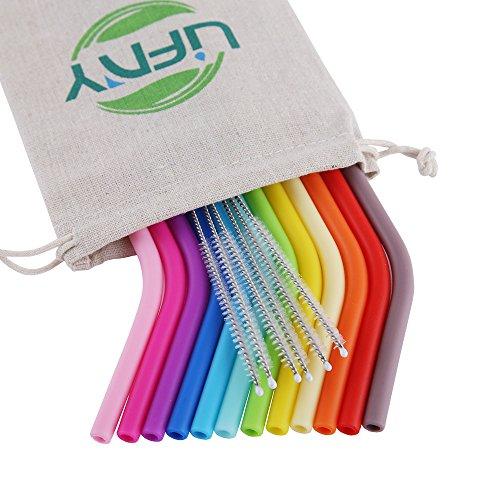 12 pajitas de silicona reutilizables de tamaño normal para vasos Yeti, Rtic, Ozark de 850 ml y 550 ml, 6 cepillos, 1 bolsa de lino