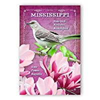 MISSISSIPPI BIRD AND FLOWER postcard set of 20 identical postcards. MS state symbols post cards. Made in USA. [並行輸入品]
