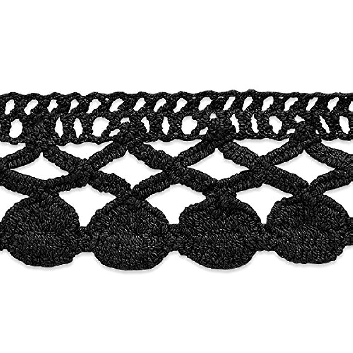 Expo International Sadie Machine Crocheted Trim Embellishment, 10-Yard, Black