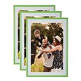 Unbekannt Cornice portafoto, 15 x 21 cm, Verde, 3 Pezzi – Cornice in Resina con Vetro di Protezione – Fornita con Supporto, Cornice da appoggiare su Un Mobile, Una scrivania.