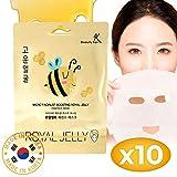 Maske Gesicht Tuchmasken Gesicht Gesichtsmaske Koreanische Tuchmasken Hautpflege mit Gelée Royale-Essenz Feuchtigkeitsspendend Anti-Aging Anti-Falten Feuchtigkeits-Gesichtsmaske 10er-Pack