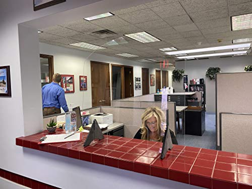Sneeze Guard by StaSafe | Made in USA | 1/4' Acrylic Screen Partition | Work Station Panel | Reception, Cashier, Counter, Store | Personal Protective Equipment (30' Wide x 30' Tall x 10' Deep)