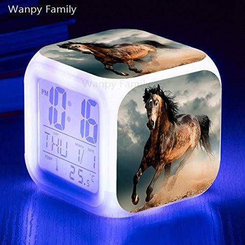Zhuhuhumin Paard-wekker, kleurrijke lichtgevende LED groot beeld multifunctionele digitale wekker kind geschenk nachtlampje elektronische klok