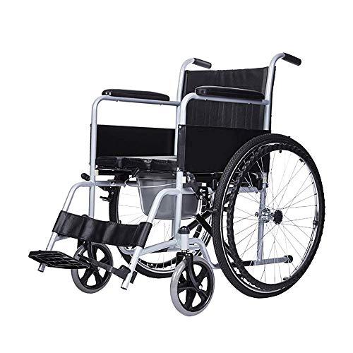 Ouderen gehandicapte rolstoel, stalen buis Ouderen gehandicapte handleiding rolstoel met stoel, licht vouwen Draagbare reizen Swing weg voetsteunen, Y-L A