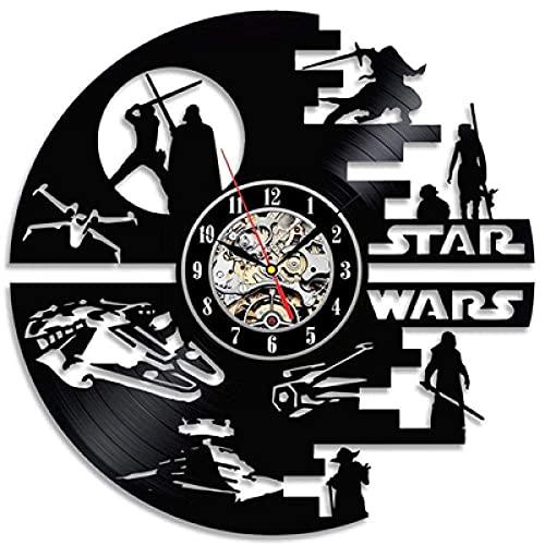SGTHYJ Reloj de Pared de Vinilo Star Wars-Disco de Vinilo Retro Reloj de Pared 3D Habitación de Niño decoración para el Hogar-11_con Luz Led de 12 Pulgadas