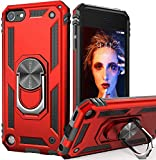iPod Touch 7 Case, iPod Touch 6 Case with Car Mount,IDweel Hybrid Rugged Shockproof Protective Cover with Built-in Kickstand for iPod Touch 5 6 7th Generation, Red