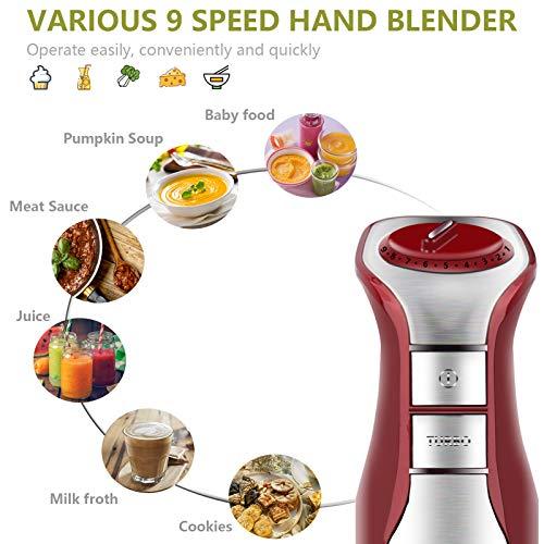 Vsadey Immersion Blender, 500W Hand Blender, 5-in-1 9-Speed Stick Blender with 600ml Beaker, Chopper, Whisk, Milk Frother, BPA-Free, 500ml Food Grinder for Sauces Smoothies Puree Infant Food