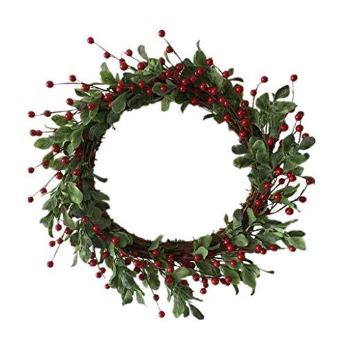 Cgration Künstliche Blumen Weihnachten Beeren Kranz Outdoor für Haustür Wand Fenster Party Hochzeit Dekor