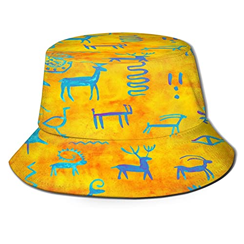 Ancient Rock Paintings Unisex Casual Bucket Sun Hat Fisherman Cap for Fishing Hiking Camping