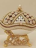 Caja de joyería de perlas de lujo, hecha a mano, regalo perfecto para adolescente amor baratija para su estilo Fabergé, huevo natural hecho a mano, 2 quilates, diamante de Swarovski, decorado a mano