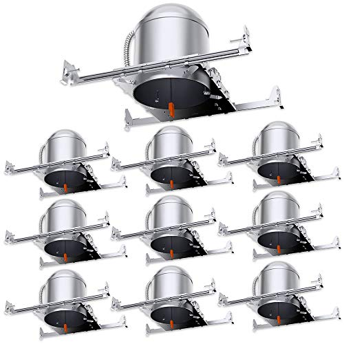 Sunco Lighting 10 Pack 6 Inch New Construction LED Light Can Air Tight IC Housing, Recessed Lights, LED Downlight, for Retrofit Kit, Electrician Prefered - UL Listed and Title 24 Certified (TP24)