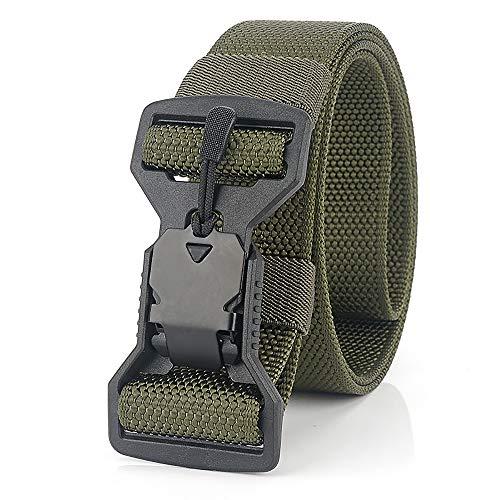 S.Lux Cintura Intrecciata in Nylon, Cintura Casual con Fibbia Magnetica Ad Alta Traspirabilità E Asciugatura Rapida per Sport e Caccia All'aria Aperta Cintura Militare (Verde)