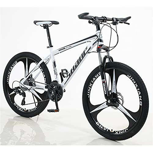ALUNVA 26inch Bicycle,Mountain Bike,Variable Speed Bicycle,Shock Absorption One Wheel Portable Bicycle,Riding Bicycle,Cross-country Bike-White and black 21 speed