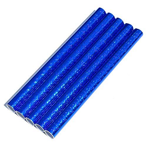 5er Set Klebefolie Hologramm Selbstklebende Glitzer Dekofolie Farbig Bastefolie Glitter Vinyl Aufkleber DIY 100cm x 33cm (Flakes Blau)