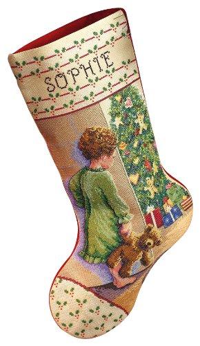 Janlynn 015-0238 Cross Stitch Kit, 18-Inch by 10-Inch, Christmas Morning Stocking, White