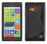 Cadorabo Custodia per Nokia Lumia 730 in Nero Profondo - Morbida Cover Protettiva Sottile di Silicone TPU con Bordo Protezione - Ultra Slim Case Antiurto Gel Back Bumper Guscio