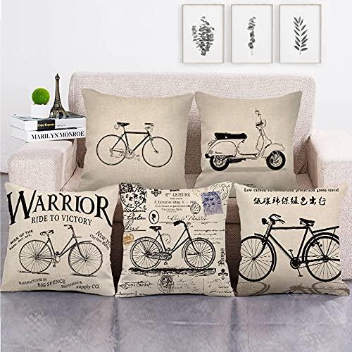 Lyotreiocvniszx 45 cm* 45 cm Retro Negro Bicicletas patrón lino/algodón tirar almohada fundas sofá cubierta decoración hogar almohada