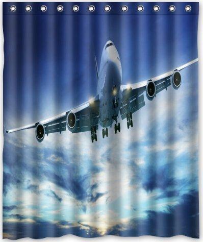 dameilin 152,4x 182,9cm Zoll Flugzeug Duschvorhang New Polyester-Wasserdicht-Bad Vorhang (Dusche Ringe im lieferumfang enthalten)