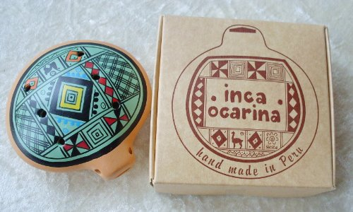 Inca Ocarina fluit, traditioneel uit Peru, Fair Trade Pale Green