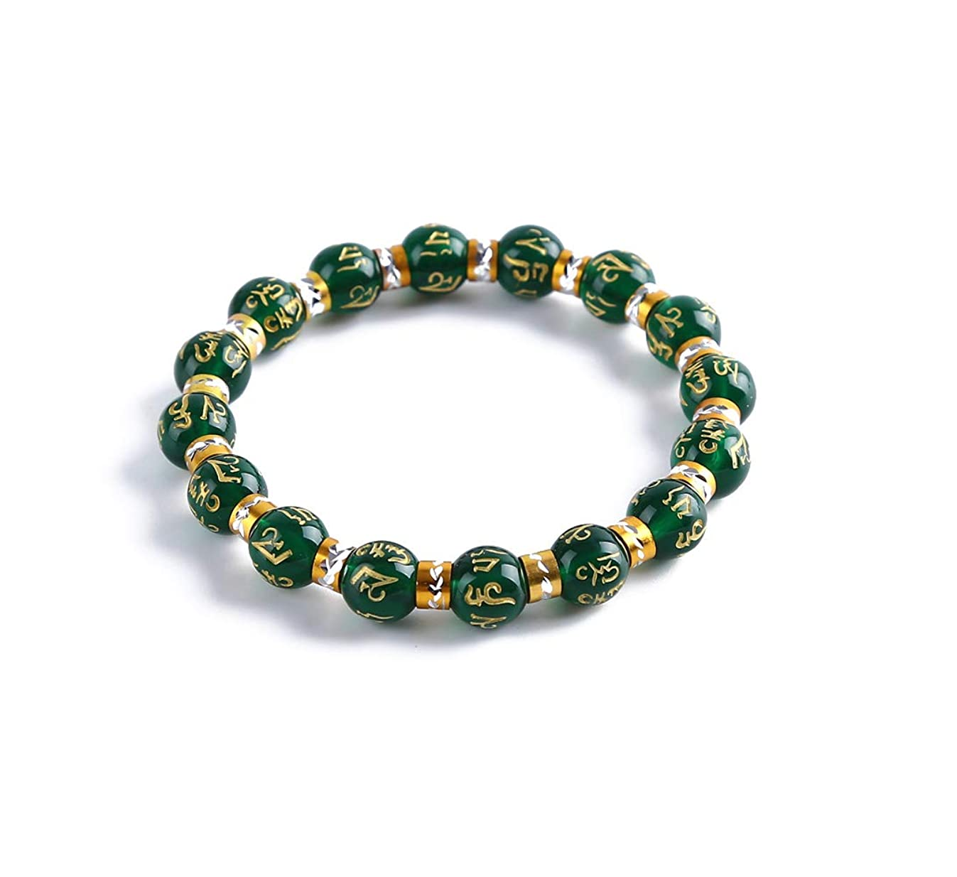 Feng Shui Chrysoprase inscribed in Sanskrit Wealth Porsperity 10mm Bracelet, Attract Wealth and Good Luck, Deluxe Gift Box Included