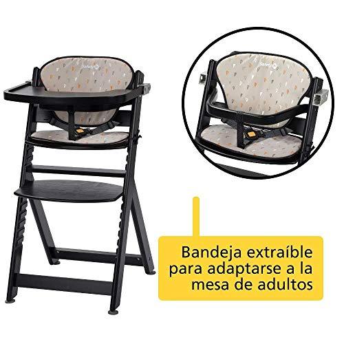 Safety 1st Chaise Haute pour bébé en Bois et Evolutive Timba avec coussin Deep Black