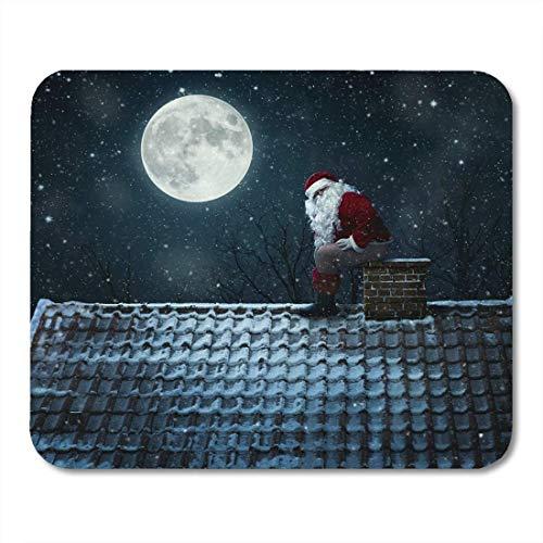 Mauspads Weihnachtsrotes Dach Lustiger Gemeiner Weihnachtsmann Mit Schornstein Als Toilette Weißer Schnee Nachtmausmatten Mauspad